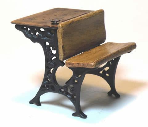 Miniature Antique School Desk - Miniature Shaker Antique School Desk - Shaker Works West