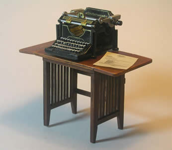 Miniature Arts & Crafts Style Typewriter Table with Miniature Underwood Typewriter and Typed Letter to Scale